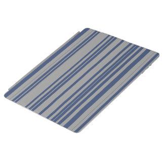 青い鋼鉄灰色の日除けのストライブ柄パターン iPadスマートカバー