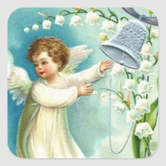 青い鐘とのベビーの天使 スクエアシール