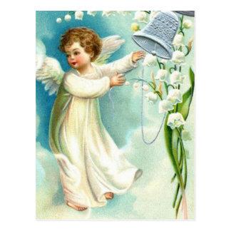 青い鐘とのベビーの天使 ポストカード