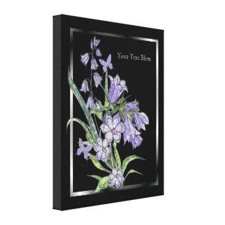 青い鐘花及び蝶覆いのキャンバスの部2 キャンバスプリント