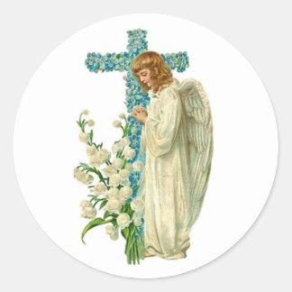 青い開花したキリスト教の十字 ラウンドシール