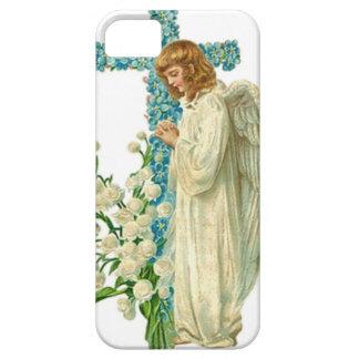 青い開花したキリスト教の十字 iPhone SE/5/5s ケース