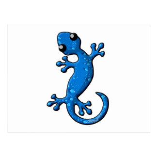 青い雨ヤモリのトカゲ ポストカード
