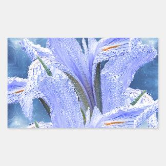 青い雨滴のアイリス 長方形シール