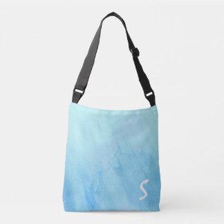 青い雨豪雨による雨水の水彩画のペンキ クロスボディバッグ