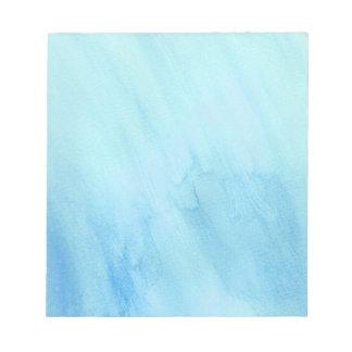 青い雨豪雨による雨水の水彩画のペンキ ノートパッド