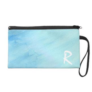 青い雨豪雨による雨水の水彩画のペンキ リストレット