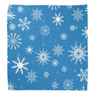 青い雪片のクリスマスのデザイン バンダナ