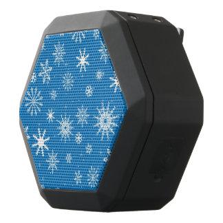 青い雪片のクリスマスのデザイン ブラックBluetoothスピーカー