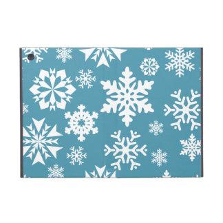 青い雪片のクリスマスの休日の冬パターン iPad MINI ケース