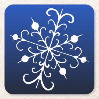 青い雪片のコースター スクエアペーパーコースター
