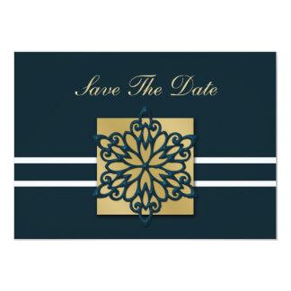 青い雪片のセーブ・ザ・デート案内 カード