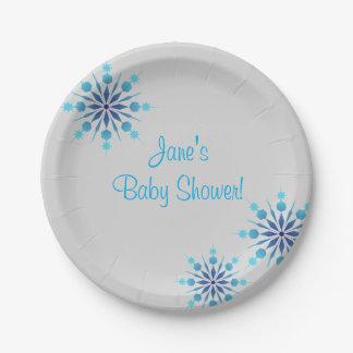 青い雪片のベビーシャワーの紙皿 ペーパープレート