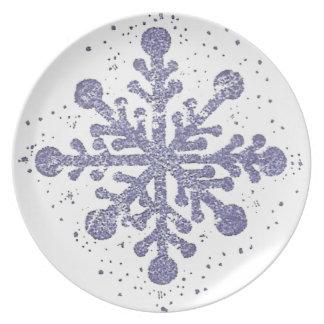 青い雪片のメラミンプレート プレート