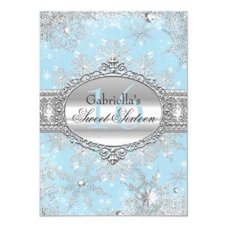 青い雪片の冬の不思議の国の菓子16の招待 11.4 X 15.9 インビテーションカード