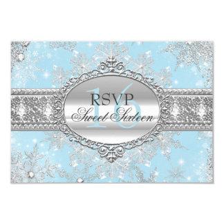 青い雪片の冬の不思議の国の菓子16 RSVP カード