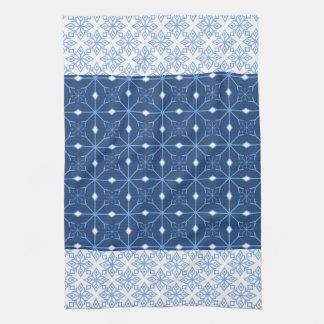 青い雪片の冬の台所タオル キッチンタオル