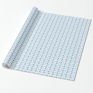 青い雪片の包装紙との白 ラッピングペーパー