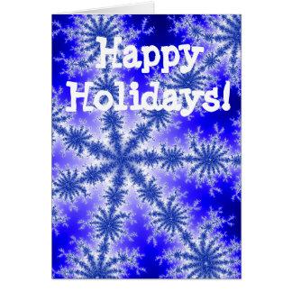 青い雪片の幸せな休日 カード