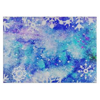 青い雪片の水彩画 カッティングボード