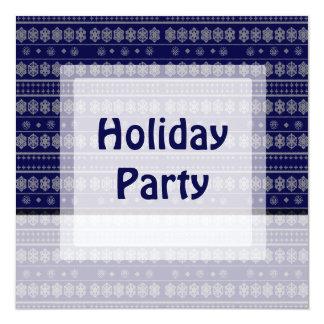 青い雪片パターンクリスマス カード