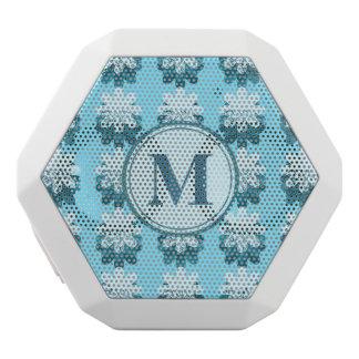 青い雪片パターンモノグラム ホワイトBluetoothスピーカー