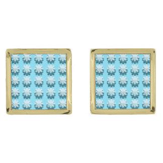 青い雪片パターン ゴールド カフスボタン