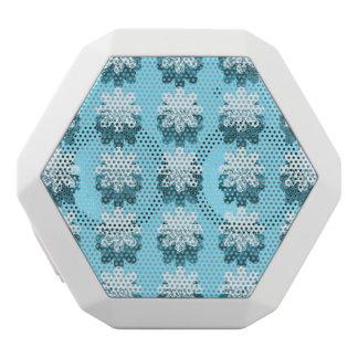 青い雪片パターン ホワイトBluetoothスピーカー