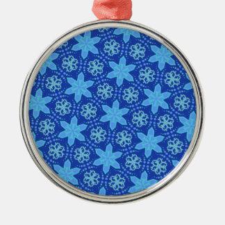 青い雪片パターン メタルオーナメント