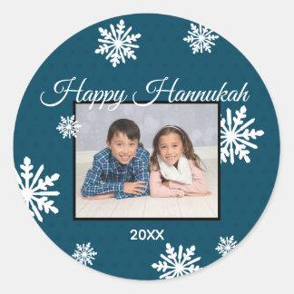 青い雪片幸せなハヌカー-円のステッカー ラウンドシール
