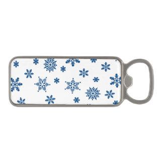 青い雪片 マグネット栓抜き
