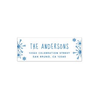 青い雪片 家族のクリスマスの差出人住所 セルフインキングスタンプ