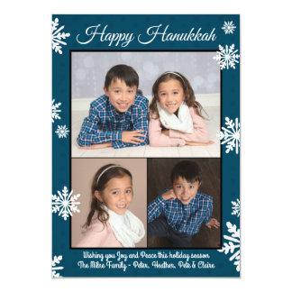 青い雪片-平らなハヌカーの写真 カード