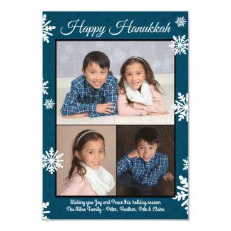 青い雪片-平らな3x5ハヌカーの写真 カード