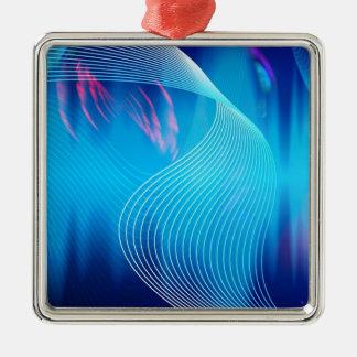 青い電気可聴周波波形の抽象芸術 メタルオーナメント