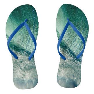 青い革紐との水しぶきのビーチサンダル ビーチサンダル