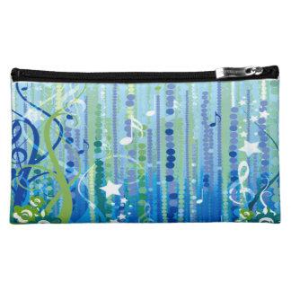 青い音楽パターン中型の化粧品のバッグ コスメティックバッグ