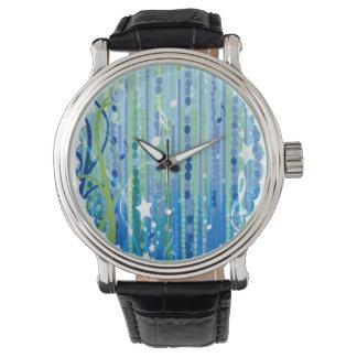 青い音楽パターン腕時計 腕時計