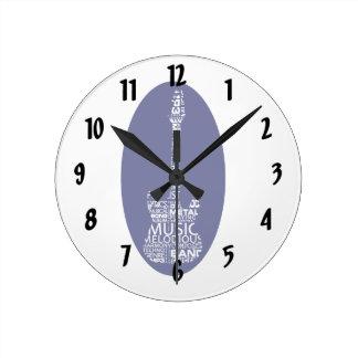 青い音楽image.pngのギターの単語の盛り土の白 ラウンド壁時計