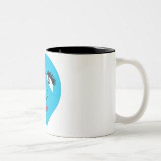 青い顔のベビードール ツートーンマグカップ