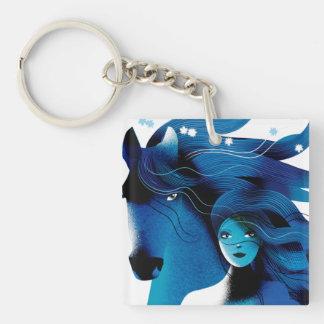青い馬および女の子のキーホルダー キーホルダー