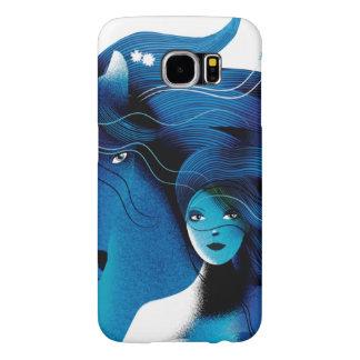 青い馬および女の子の電話箱 SAMSUNG GALAXY S6 ケース
