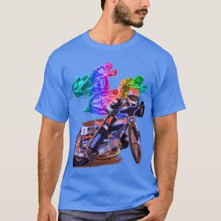 青い高速自動車道路のオートバイのレーサー Tシャツ