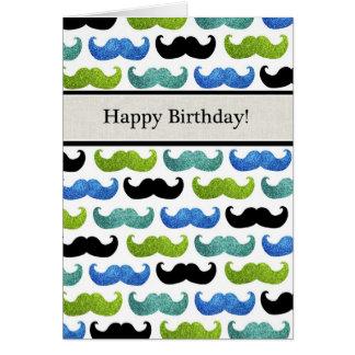 青い髭パターン-彼のためのハッピーバースデー カード