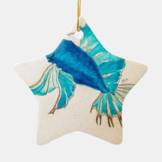 青い魚の水彩画 セラミックオーナメント