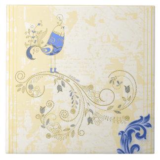 青い鳥のレトロの花のファインアート タイル