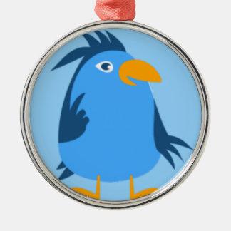 青い鳥の顔 メタルオーナメント
