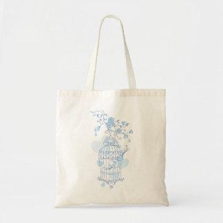 青い鳥籠および花の春の結婚式のバッグ トートバッグ