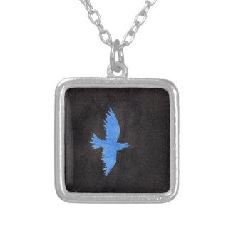 青い鳩 シルバープレートネックレス