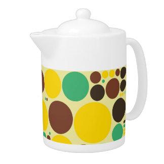 、青い黄色い、ブラウンの水玉模様パターン